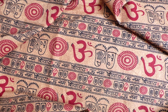India chants Om,Text in sanskrit language on beige fabric - Cotton Fabric, SC - 7