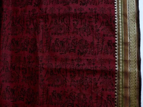 Handloom cotton fabric in wine red and Black - One yard Yard