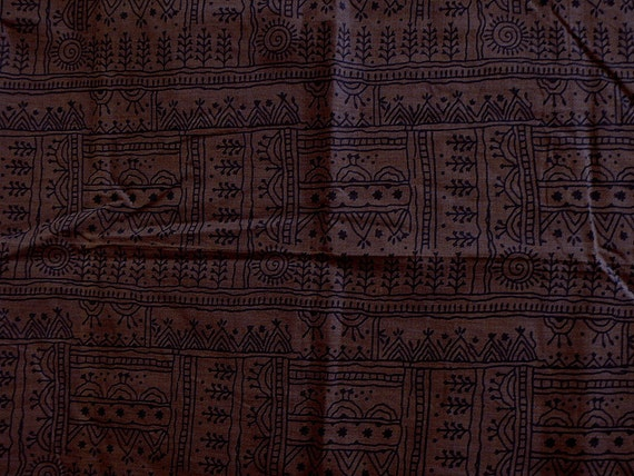 Indian cotton fabric in hand block print - Tribal art.