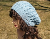 Interlocking Cables Slouch Hat Knit Beret Tam Robins Egg Blue