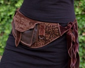 Golden Brown - Pocket Belt - Utility belt - Festival - Hip bag - Bohemian - Burlesque - Burning man - Renaissance