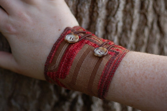 Fabric Cuff Bracelet with Buttons