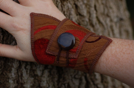 Fabric Cuff Bracelet with Button