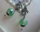 Antiqued Silver Leaf earrings - Spring Fashion - Green Sprig