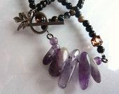 Amethyst and Onyx Necklace - Purple Jewelry - Semiprecious Stone - February Birthstone