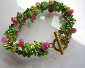 Crocheted Bracelet - Peridot Jewelry - Spring Meadow - Green and Pink