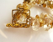 Golden Amber Crochet Bracelet - 3pearls