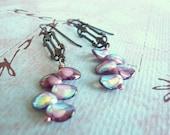 Victorian Dangle Earrings - Plum Czech Glass