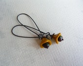 Mustard Flower Earrings - Floral Jewelry - Long Dangle