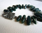 Moss Agate and Pewter Bracelet - Pine Green - Stone Bracelet -Green Stone Beads