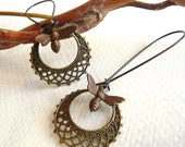 Honey Bee Earrings - Antiqued Brass - Bee Charm - Long Dangle