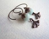 Copper and Aqua Earrings - Ginkgo Leaf Earrings - Amazonite - Copper Earrings - Pale Aqua