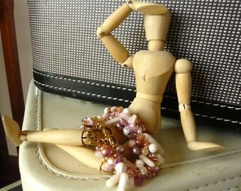 Crocheted Bracelet - Riviera Sunset - Pink - Rose - Freshwater Pearls