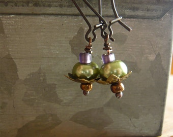Green Pearl Earrings - Long Dangle - Pearl Jewelry