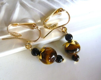 Tiger Eye Clip On Earrings - Natural Stone Jewelry - Brown Drop Clipons