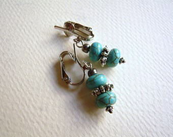 Turquoise & Silver Clip On Earrings - Choice of Pierced or Clip