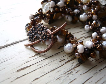 Choco Latte Crochet Necklace - Beads and Crochet - Freshwater Pearls - Chocolate Brown - Coffee and Cream - Free Domestic Shipping