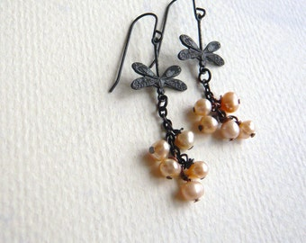 Pearl Earrings - Pink Pearl and Dragonfly - Dangle - Freshwater Pearl Cluster