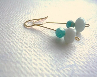 Aqua Stone Earrings - Amazonite Earrings