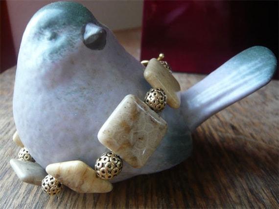 Fossil Coral Bracelet - Genuine Stone Jewelry - Neutral - Gold- Cream