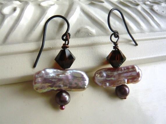 Mocha Shimmer Earrings - Mauve - Freshwater Pearl - Drop Earrings - Rose Smoke