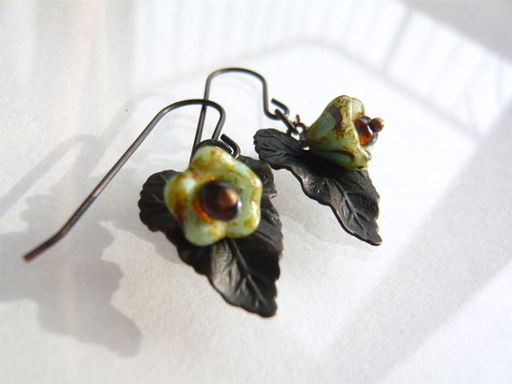 Turn Over Another Leaf Earrings -Fall Jewelry - Floral - Woodsy Earrings