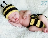 Bumble Bee hat with antenas and matching diaper cover
