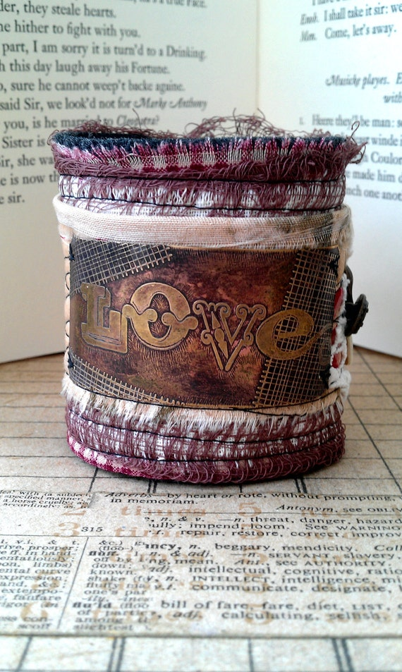 Love Etched Brass Felt and Fabric Cuff