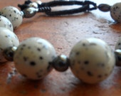 Dalmatian Jasper Beads, Silver and Leather Bracelet