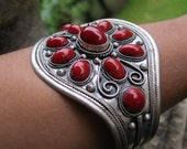 Tibet silver and Coral red glass and stones cuff bracelet