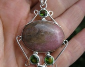Antique style Large rose pink and moss green Garnet and Peridot Necklace set in solid .925 Sterling Silver