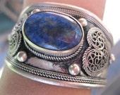 Bold Lapis Lazuli and Tibet silver Heart Cuff Bracelet FREE shipping