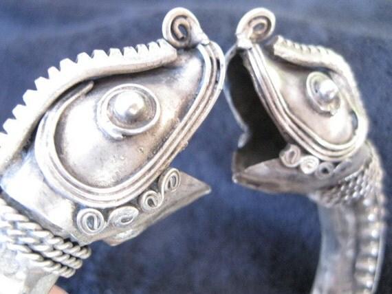 Vintage Miao Double-headed Dragon Bangle
