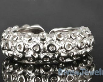 Solid Silver Octopus Tentacle Ring Size Adjustable 7-10