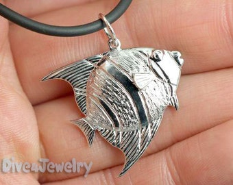 Sterling Silver Angel fish Pendant Necklace