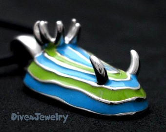 3D Colourful Nudibranch Sterling Silver Pendant Necklace