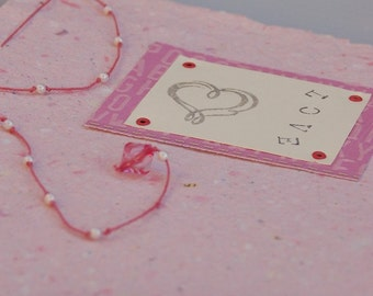 CLEARANCE! Journal-Handmade Paper, Love, Pink-clearance