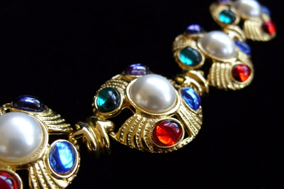 Vintage Channel Type Gold Jewels Pearl Large Chunky Bracelet