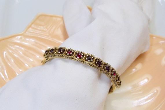 Antique Victorian Gold Filled Hinge Bracelet with Garnets