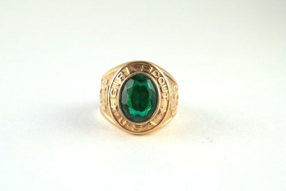 Vintage Girl Scouts Ring 10K Gold Filled with Green Stone