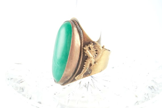 Vintage Chinese Export Brass and Copper Ring with Dragons Green Cabochon HUGE