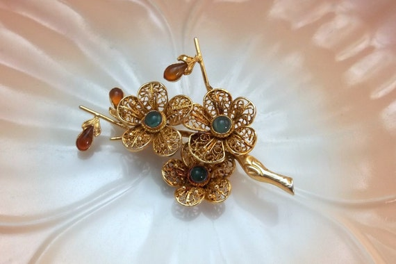 Antique Art Deco Filigree Chinese Export Brooch SILVER Gold Wash Floral