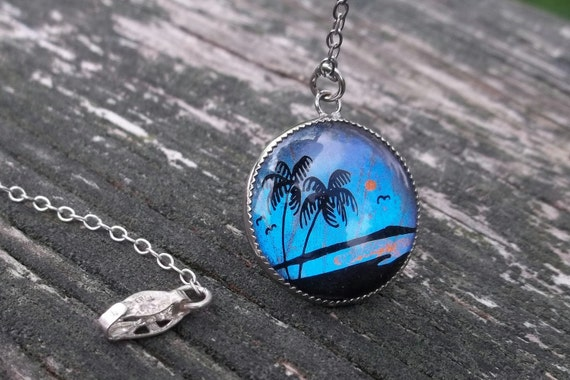 Vintage Sterling Silver Necklace Morpho Butterfly Wing Art Pendant