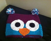 Youth Purple and Blue Owl Hat