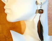 Minimalist Boho Feather Earrings // Black and Orange Lampwork Glass Earrings // Beaded Feather Earrings // Long Feather Earrings - ER0012