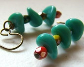 Fun Boho Chic Turquoise Glass Earrings  Vintage Beads Funky Retro Earrings Blue Green Red Bohemian - ER0021