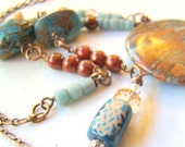 Jasper stone statement necklace in blue, peach, rust and bronze with trade beads