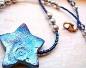 Raku star beaded choker necklace // Blue and Copper // Ceramic chunky star necklace // Short beaded necklace - BJ0040