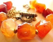 Chunky gemstone necklace with carnelian nuggets