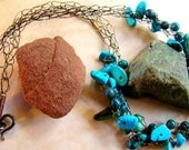 RESERVED for Lauren - Turquoise Crochet Wire Necklace, beaded necklace, wire crochet necklace, turquoise jewelry